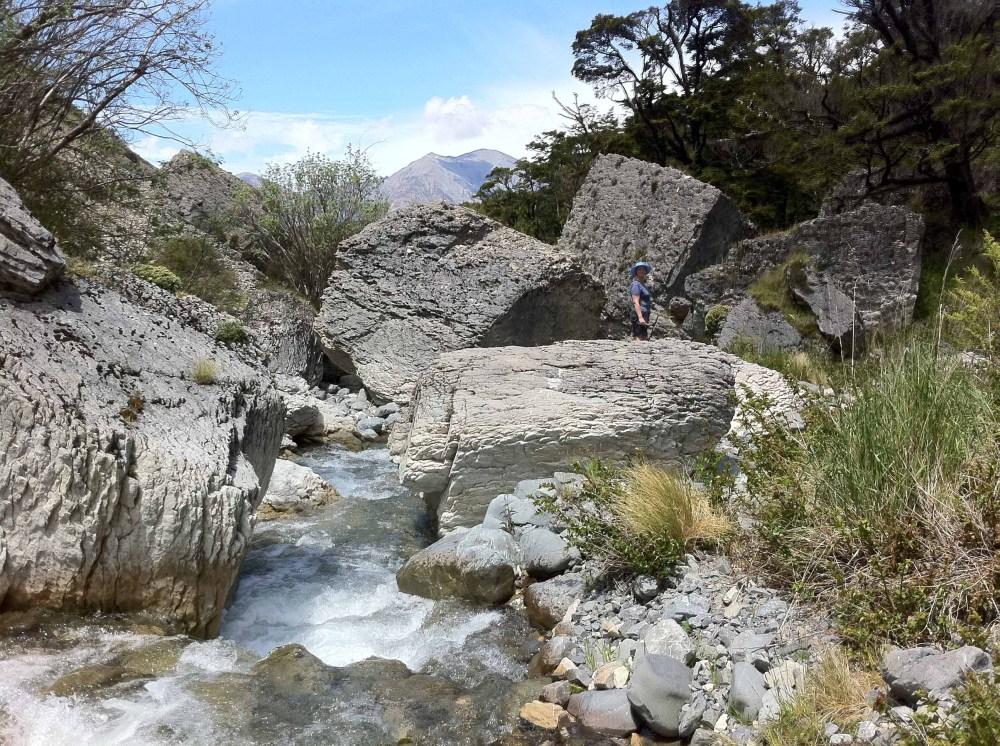 Rocks on a stream near Castle Rock Village, New Zealand