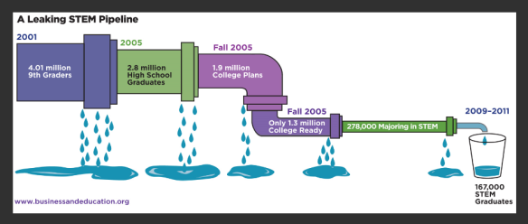 This graphic illustrates the analogy of a STEM pipeline. Are people the drips?