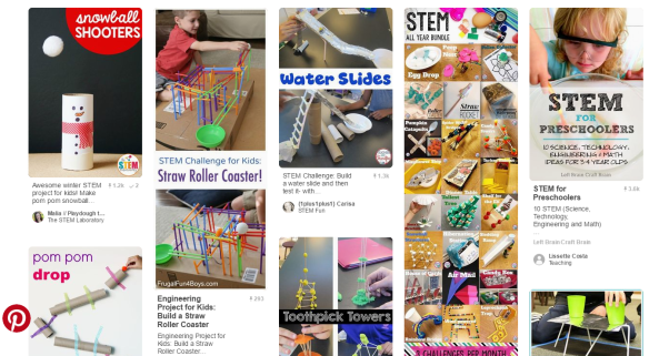 A screenshot of some STEM tasks found on Pinterest